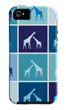 Blue Giraffe Squares iPhone 5 Case by  Avalisa
