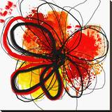 Red Abstract Brush Splash Flower I Stretched Canvas Print by Irena Orlov