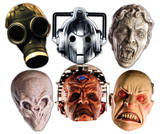 Doctor Who-Monster Halloween 6pk-Cyberman,Smiler,Davros,Weeping Angel,Empty Child & Silent-Face Mas Novelty