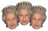 Queen ElizabethII 3pk- 3x Queen-Face Masks Masky