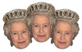 Queen ElizabethII 3pk- 3x Queen-Face Masks - Maske