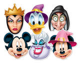 Disney Halloween 6pk-Mickey Vampire,Minnie Witch,Donald Wizard,Ursula,Wicked Witch & Wicked Queen-F Masques