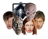 Doctor Who-Party 6pk -Cyberman,Silent,Weeping Angel,Dr Who,Amy & Rory-Face Masks Originalt