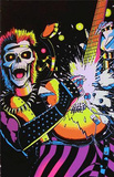Skull Rocker Flocked Blacklight Poster Print