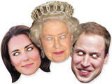 Queen Elizabeth II, Prince William & Kate-Queen,William & Kate 3 Pk-Face Masks Novelty