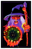 Mystic Wizard Flocked Blacklight Poster Prints