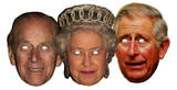 Royal Family 3pk Assorted- Queen,Phillip & Charles-Face Masks Fête - humour
