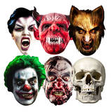 Halloween 6pk-Clown,Skull,Vampire,Werewolf,Zombie and Devil-Face Masks Masques