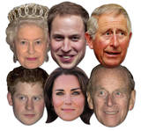 Royal Family 6pk-Queen,Phillip,William,Harry,Kate & Charles-Face Masks Fête - humour