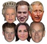 Royal Family 6pk-Queen,Phillip,William,Harry,Kate & Charles-Face Masks Maska
