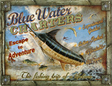 Blue Water Charters Placa de lata