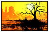 Desert Willow Flocked Blacklight Reactive Poster Posters