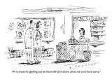 """We've found by applying just the tiniest bit of an electric shock, test s…"" - New Yorker Cartoon Premium Giclee Print by Barbara Smaller"