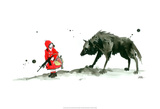 Rødhætte og ulven Plakat af Lora Zombie