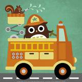 Owl in Firetruck and Squirrel Affiches par Nancy Lee
