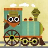 Owl Train Conductor Sztuka autor Nancy Lee