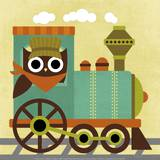 Owl Train Conductor Art by Nancy Lee