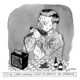 A man sits at a table in front of a plate of ribs, holding a ribs like a h… - New Yorker Cartoon Regular Giclee Print by Andy Friedman