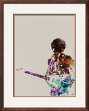 Hendrix With Guitar Watercolor Framed Giclee Print by  NaxArt