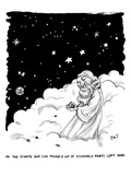 God stands in a cloud formation in space, and holds an some assembly part - New Yorker Cartoon Regular Giclee Print by Carolita Johnson