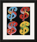 Four Dollar Signs, c.1982 (blue, red, orange, yellow) Poster by Andy Warhol
