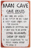 Man Cave Rules Plaque en métal