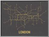 London (Dark Gray & Mustard) Prints by  Line Posters