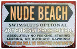 Nude Beach Emaille bord