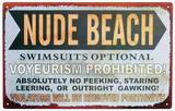 Nude Beach Tin Sign