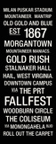 West Virginia: College Town Wall Art Reproduction transférée sur toile