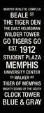Memphis: College Town Wall Art Lærredstryk på blindramme