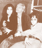 John Lennon, Yoko Ono, and Andy Warhol - Sepia Photo Posters