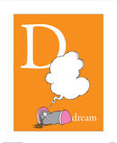 D is for Dream (orange) Prints by Theodor (Dr. Seuss) Geisel