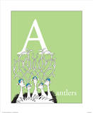 A is for Antlers (green) Prints by Theodor (Dr. Seuss) Geisel