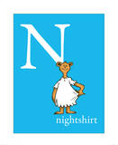 N is for Nightshirt (blue) Poster by Theodor (Dr. Seuss) Geisel