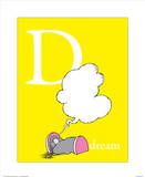 D is for Dream (yellow) Print by Theodor (Dr. Seuss) Geisel