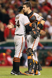 Cincinnati, OH - October 09: Cincinnati Reds - Sergio Romo and Buster Posey Photographic Print by Andy Lyons