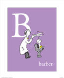B is for Barber (purple) Art by Theodor (Dr. Seuss) Geisel