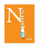 N is for Neck (orange) Print by Theodor (Dr. Seuss) Geisel