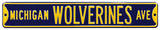 Michigan Wolverines Ave Navy Steel Sign Wall Sign
