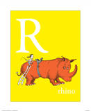 R is for Rhino (yellow) Prints by Theodor (Dr. Seuss) Geisel