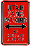 Utah Fans No Cougars Parking Steel Sign Wall Sign
