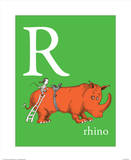 R is for Rhino (green) Poster by Theodor (Dr. Seuss) Geisel