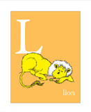 L is for Lion (orange) Affiches par Theodor (Dr. Seuss) Geisel