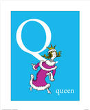 Q is for Queen (blue) Prints by Theodor (Dr. Seuss) Geisel