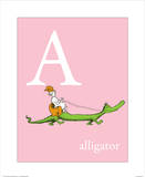 A is for Alligator (pink) Art Print by Theodor (Dr. Seuss) Geisel