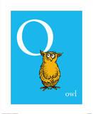 O is for Owl (blue) Affiches par Theodor (Dr. Seuss) Geisel