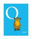 O is for Owl (blue) Lámina por Theodor (Dr. Seuss) Geisel