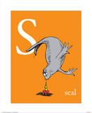 S is for Seal (orange) Kunstdrucke von Theodor (Dr. Seuss) Geisel