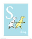 S is for Sheep (blue) Prints by Theodor (Dr. Seuss) Geisel